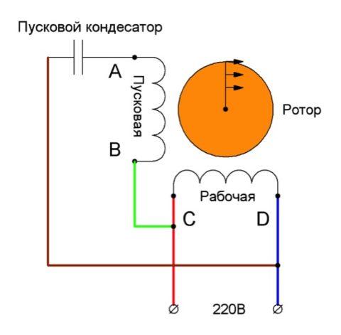 Схема подключения без коммутационного аппарата на пусковой обмотке