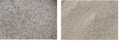 Кварцевый (слева) и речной песок