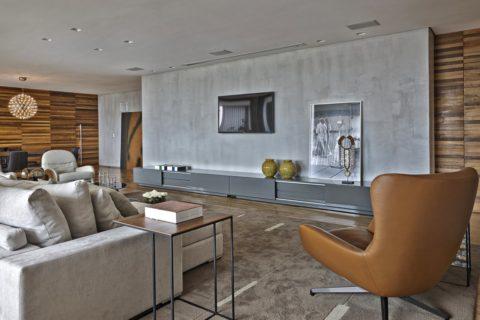 Акцентная бетонная поверхность в гостиной