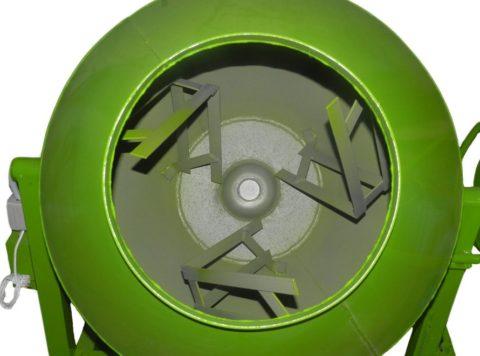 Барабан гравитационной мешалки сверху, видны лопасти
