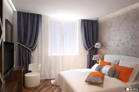 Бетонная стена в спальне