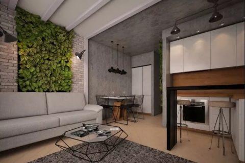Декоративная штукатурка: эффект бетона в сочетании с зеленью