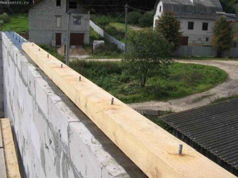 Деревянный мауэрлат на доме из газобетона