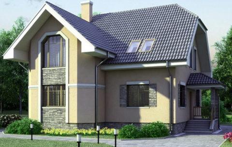Комбинированная отделка дома из газобетона. Декоративная штукатурка и панели под натуральный камень