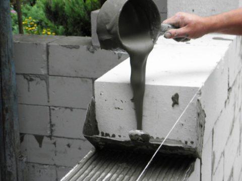Нанесение клея с помощью каретки с шириной, соответствующей толщине блока