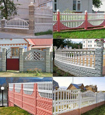 Некоторые варианты бетонных заборов