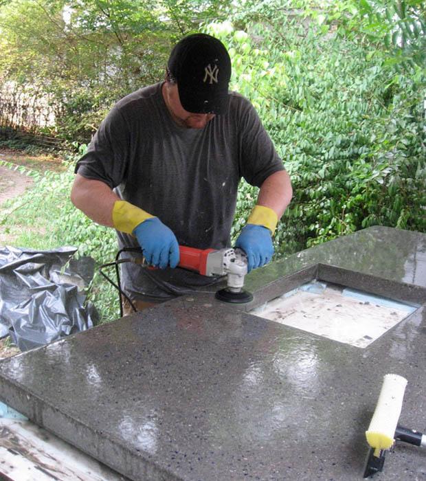 Шлифовка бетонной столешницы своими руками