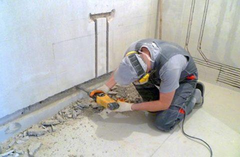 Штробление стен из газобетона