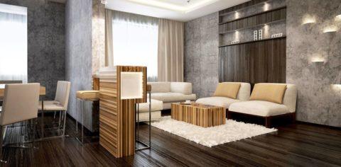Штукатурка декоративная бетон в квартире-студии