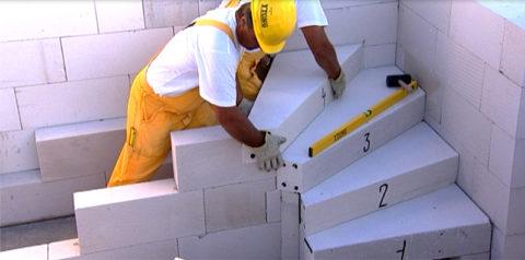 Сложная винтовая лестница из блоков «Ytong»