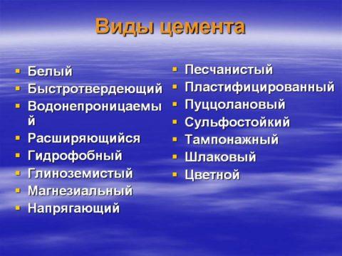 Список разновидностей цемента