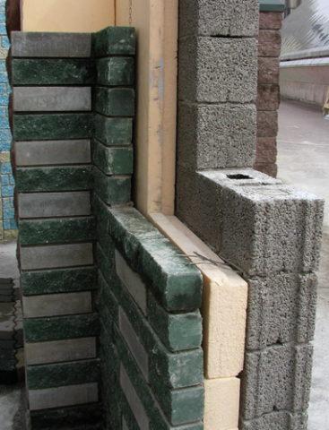 Стена из керамзитобетонных блоков, утеплитель, облицовочный кирпич