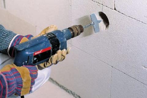 Сверление газобетона