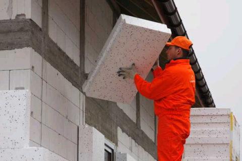 Утепление газоблоков плитами ППС требует устройства воздушного зазора