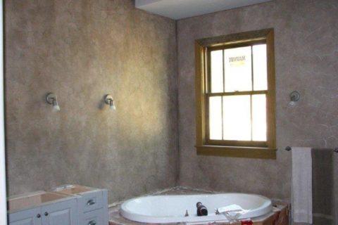 Ванная комната с отделкой силикатной штукатуркой