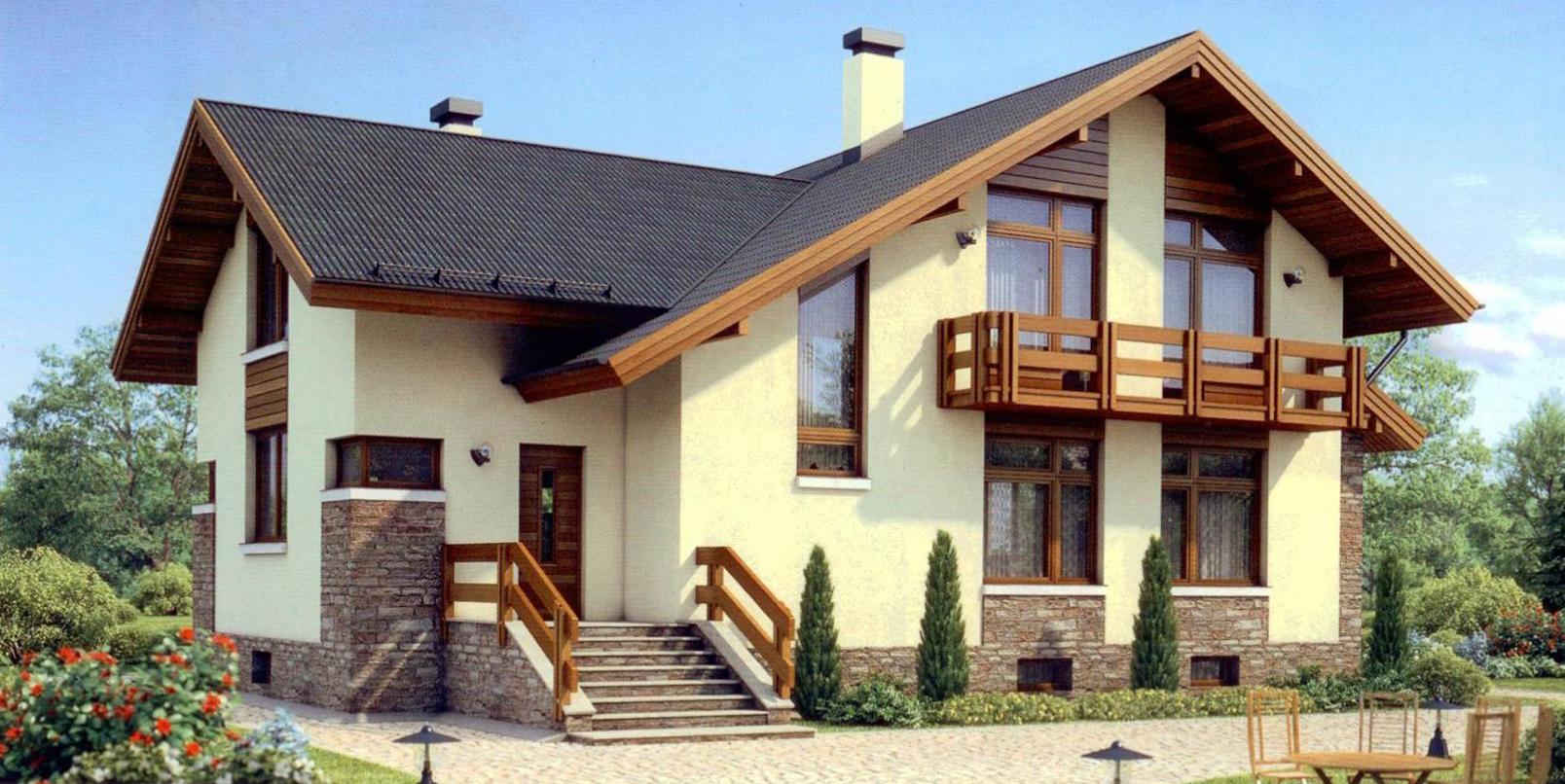 Отделка фасадов частных домов идеи
