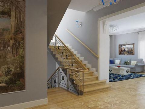 Вариант размещения и облицовки лестничной клетки внутри помещения.