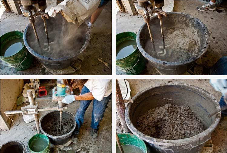 Приготовление бетона строительным миксером