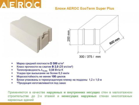Газобетонныеблоки «Аэрок»«EcoTerm Super Plus»