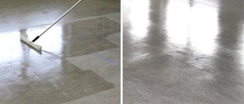 Нанесение на бетонный пол пропитывающего покрытия и состояние после его высыхания