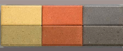 Образцы цветного бетона с разным по цвету наполнителем. Верхний ряд – со светлыми, нижний – с темными