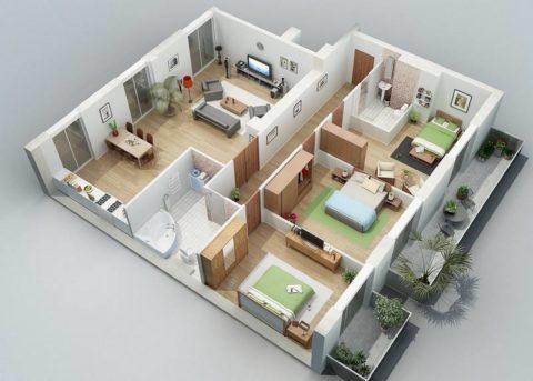Планировка одноэтажного дома из газобетона