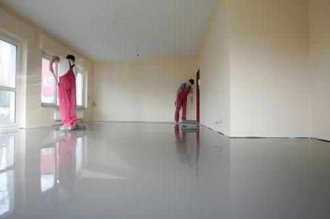 Полиуретановая краска для бетонного пола: выравнивание поверхности