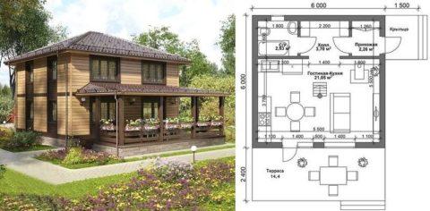 Проект дома из газобетона, обшитого деревянными панелями, с террасой и крыльцом