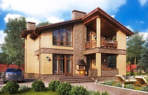 Проекты домов из кирпича и газобетона – вариант внешнего оформления