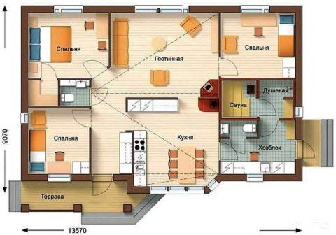 Проекты домов с сауной из газобетона – пример планировочного решения одноэтажного дома