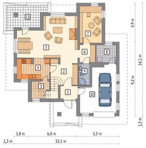 Проекты компактных домов из газобетона – доступ в гараж из прихожей