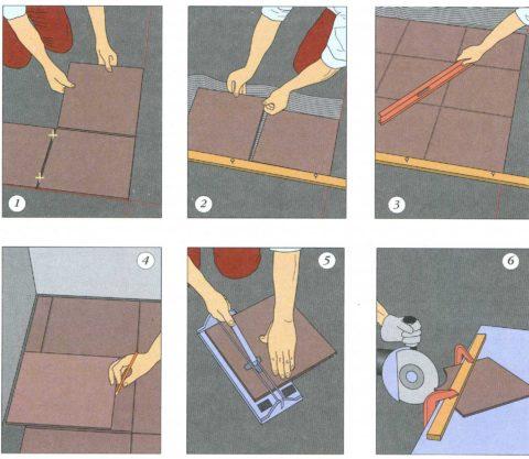 Способ укладки плитки по шнуру