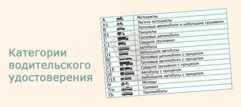 Существующие категории водительских прав в 2017 г представлены в таблице