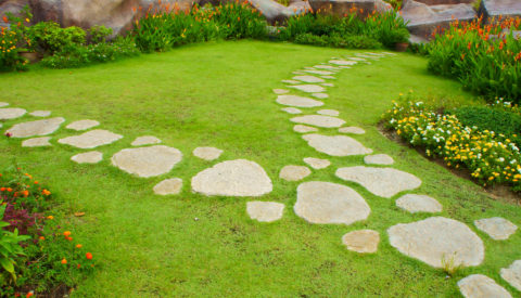 Тропинка в саду из бетона