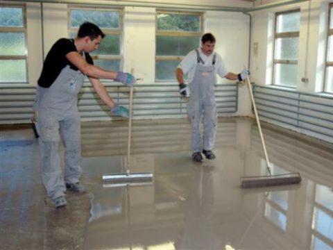 Устройство полимерного покрытия на бетонном полу