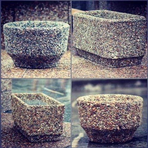Вазоны сложной формы из мытого бетона