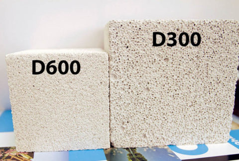 Блоки различной марки плотности