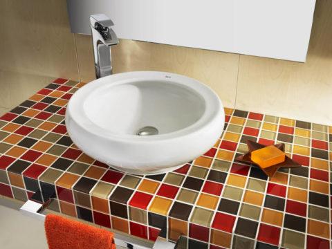 Декоративная плитка для облицовки бетонной столешницы под раковину