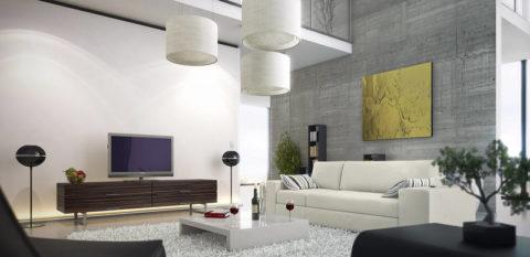 Гостиная с бетонной стеной