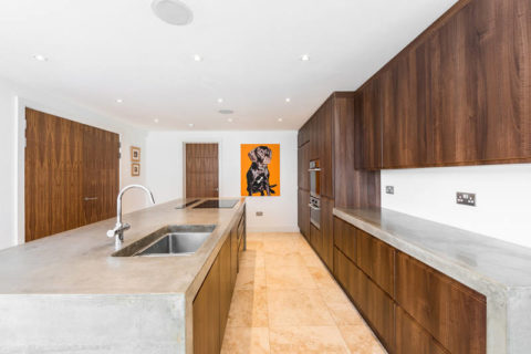 Интерьер современной кухни с поверхностями из бетона