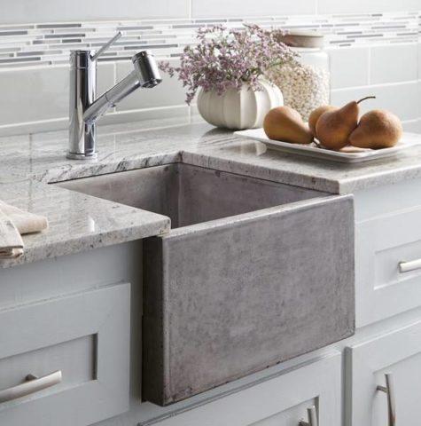 Квадратная кухонная бетонная раковина