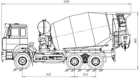Миксер MXR1350В, объем автобетономешалки 7 м³, на базе шасси КамАЗа-4310