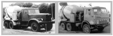 На фото слева СБ-92 с повышенной скоростью выгрузки бетона, справа СБ-92В-1 на базе КамАЗа