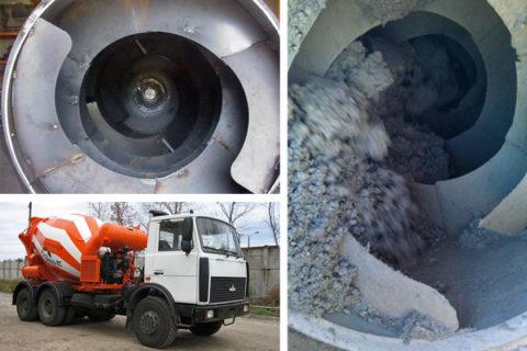 Начинка миксера для постоянного перемешивания бетонной смеси