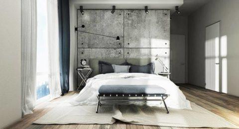 Организация освещения бетонной поверхности в спальне