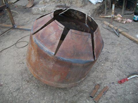 Промежуточный этап сварки самодельного барабана