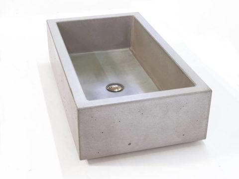 Раковина из бетона изготовлена при помощи заливки раствора в опалубку