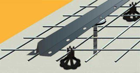 Схема установки армирования на подставки с выводом маяков под заливку стяжки