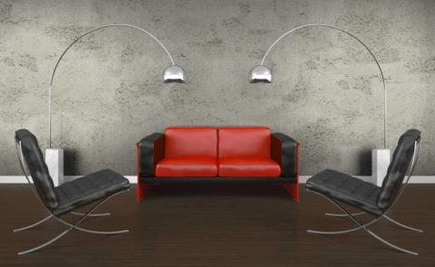 Симметричная расстановка мебели на фоне бетонных стен