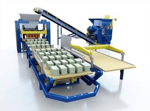 Стационарная линия по производству керамзитобетонных блоков